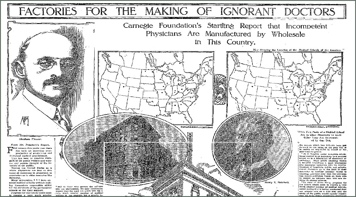Newspaper article on factories for the making of ignorant doctors