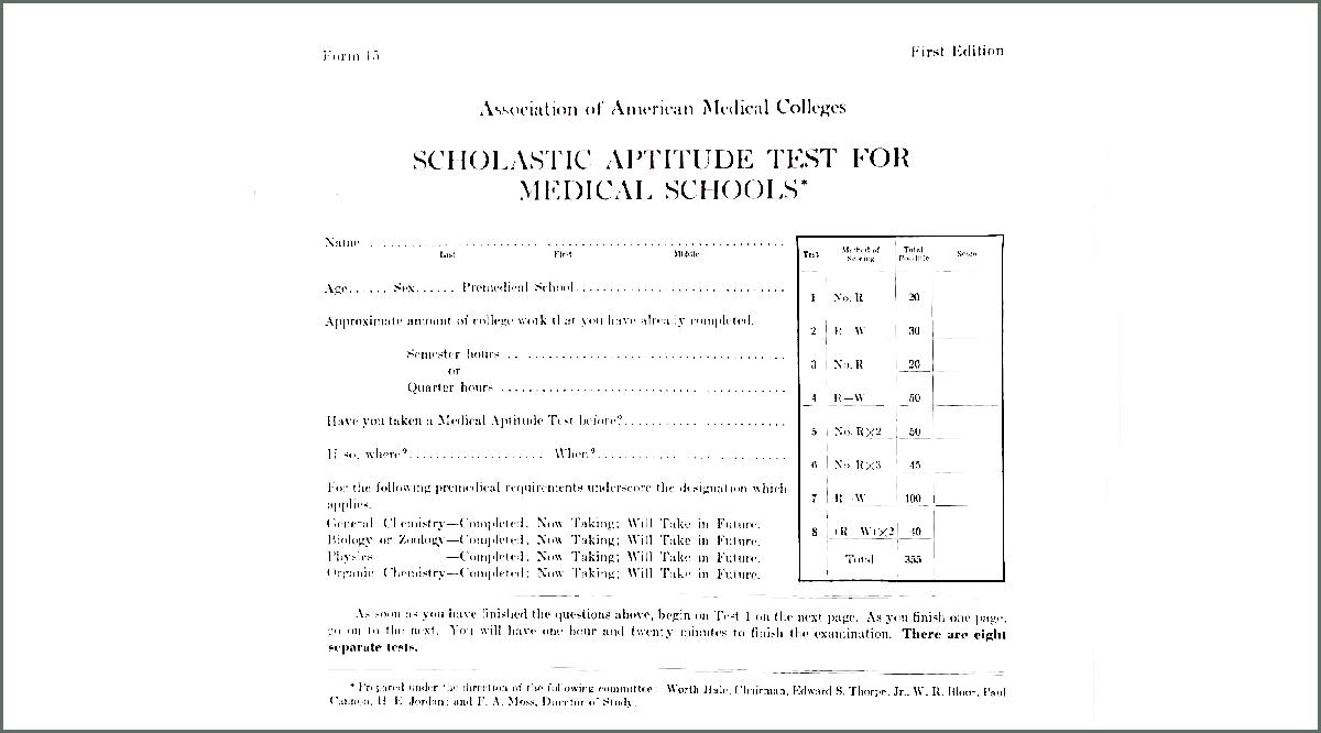 MCAT form in 1947