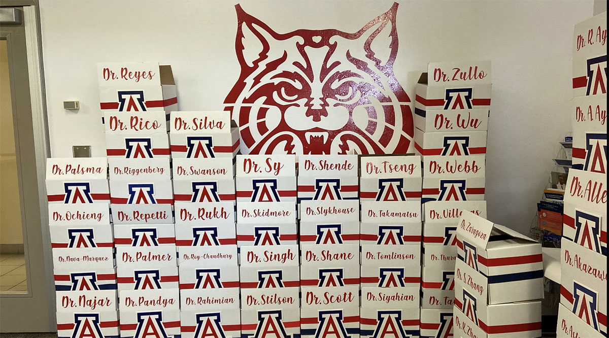 Gift boxes from the University of Arizona that included Match Day envelopes and some school memorabilia