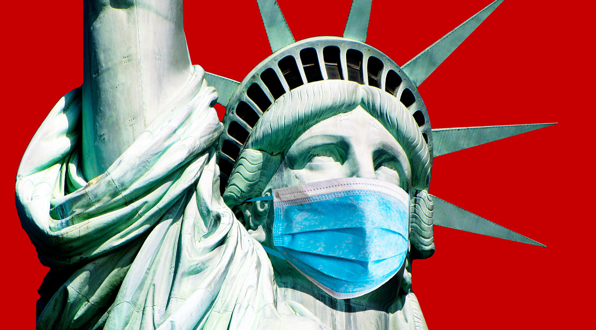 Statue of Liberty wearing a medical face mask