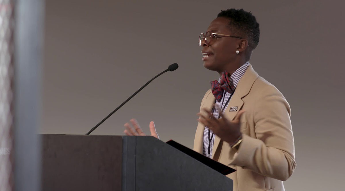 Kali Cyrus, MD, MPH, speaks on intersectionality in gender equity movements at the Time's Up Convening on Pay Equity in September 2019