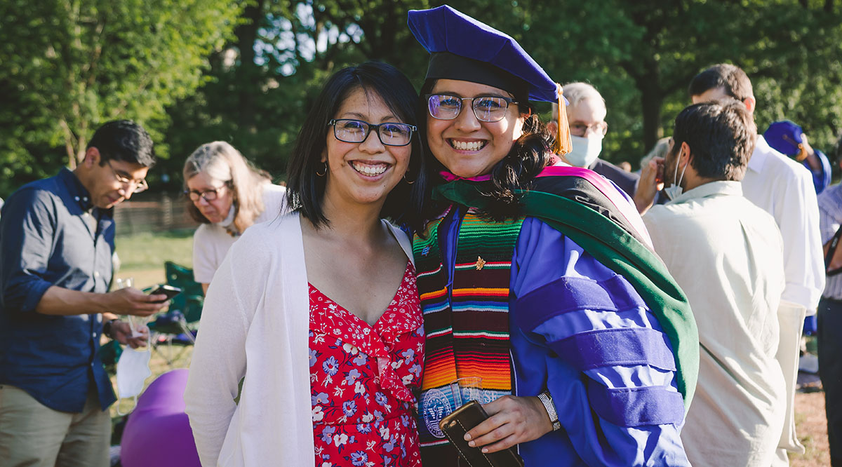 Denisse Rojas Marquez, MD, MPP, poses for a picture with her sister, Nadia Rojas, at her graduation from Icahn School of Medicine at Mount Sinai in New York earlier this year.