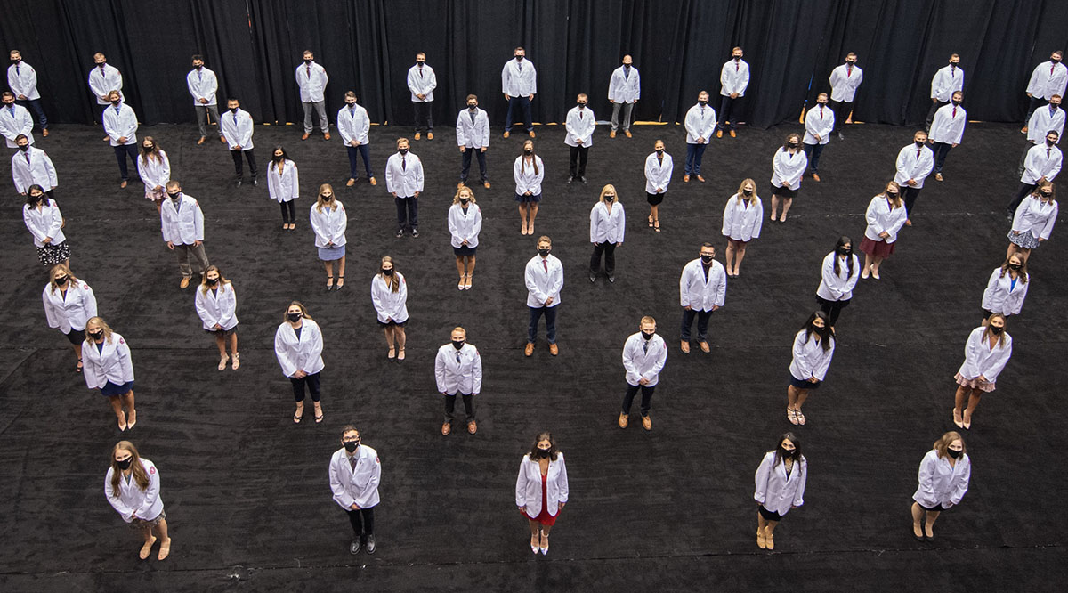 The University of South Dakota Sanford School of Medicine held a socially distanced White Coat Ceremony on July 22. The event was livestreamed to family and friends
