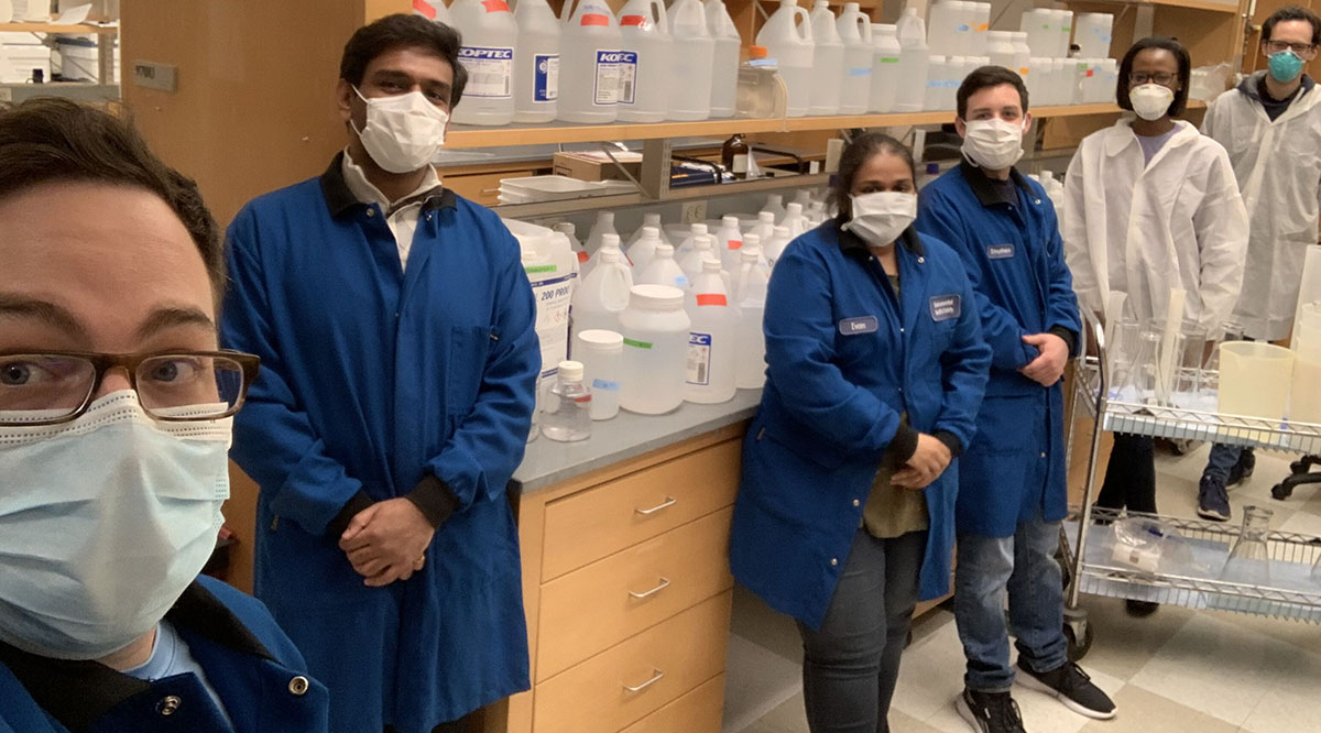 Students from the Graduate School of Biomedical Sciences at the University of Massachusetts School of Medicine made 130 gallons of high-grade hand sanitizer that is now being used at UMass Memorial Medical Center