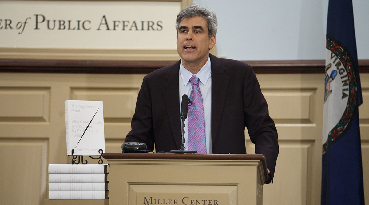 Jonathan Haidt, PhD, speaks at the Miller Center at the University of Virginia