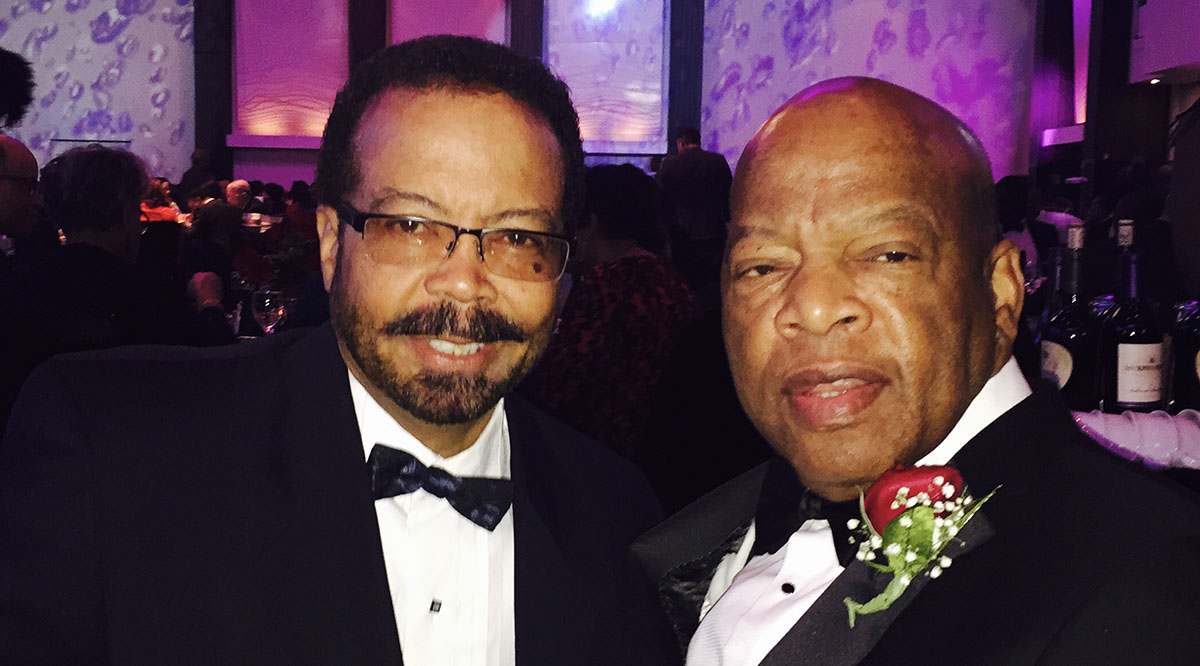 Roderic Pettigrew, PhD, MD, and Rep. John Lewis at the 2016 A Candle In the Dark Awards Gala of Morehouse College. Rep. Lewis received the Candle Award for achievements in civil rights and public service. Dr. Pettigrew is a previous award recipient.