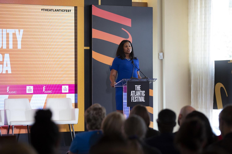 Malika Fair speaks at Atlantic Festival 2019.