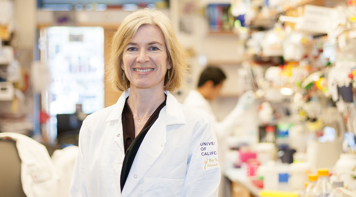 Jennifer Doudna, PhD, pictured in her lab at the University of California, Berkeley, and the Innovative Genomics Institute. Courtesy of IGI/UC Berkeley.