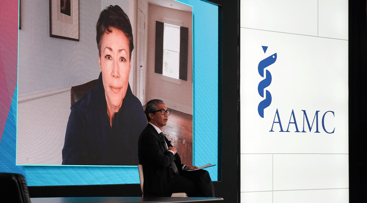Veteran television reporter Ann Curry speaks with Bon Ku, MD, assistant dean for medical education of Sidney Kimmel Medical College at Thomas Jefferson University in Philadelphia at Learn Serve Lead 2020.