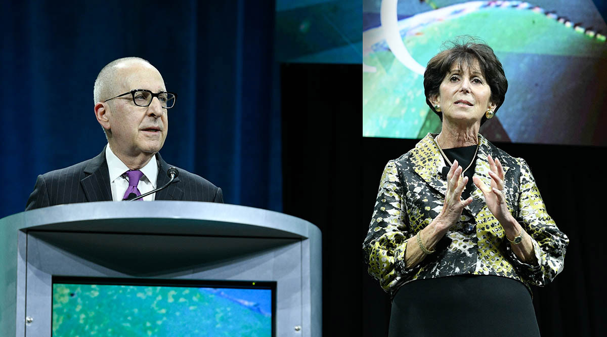 AAMC President and CEO David J. Skorton, MD, and AAMC Board of Directors Chair Lilly Marks give their remarks during the Leadership Plenary on Sunday, November 10, at Learn Serve Lead 2019: The AAMC Annual Meeting.