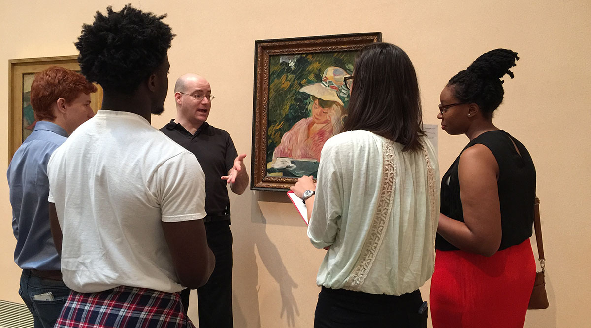 Undergraduate students interested in health careers visit the Museum of Fine Arts, Houston, for The Art of Communication, a class offered through a summer program hosted by UTHealth.