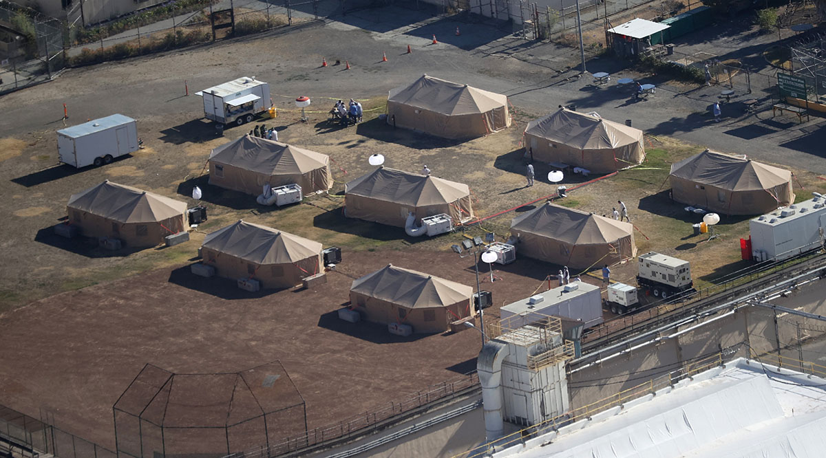 An emergency care facility was erected to treat prisoners infected with the novel coronavirus at San Quentin State Prison in San Quentin, California, as seen in July.