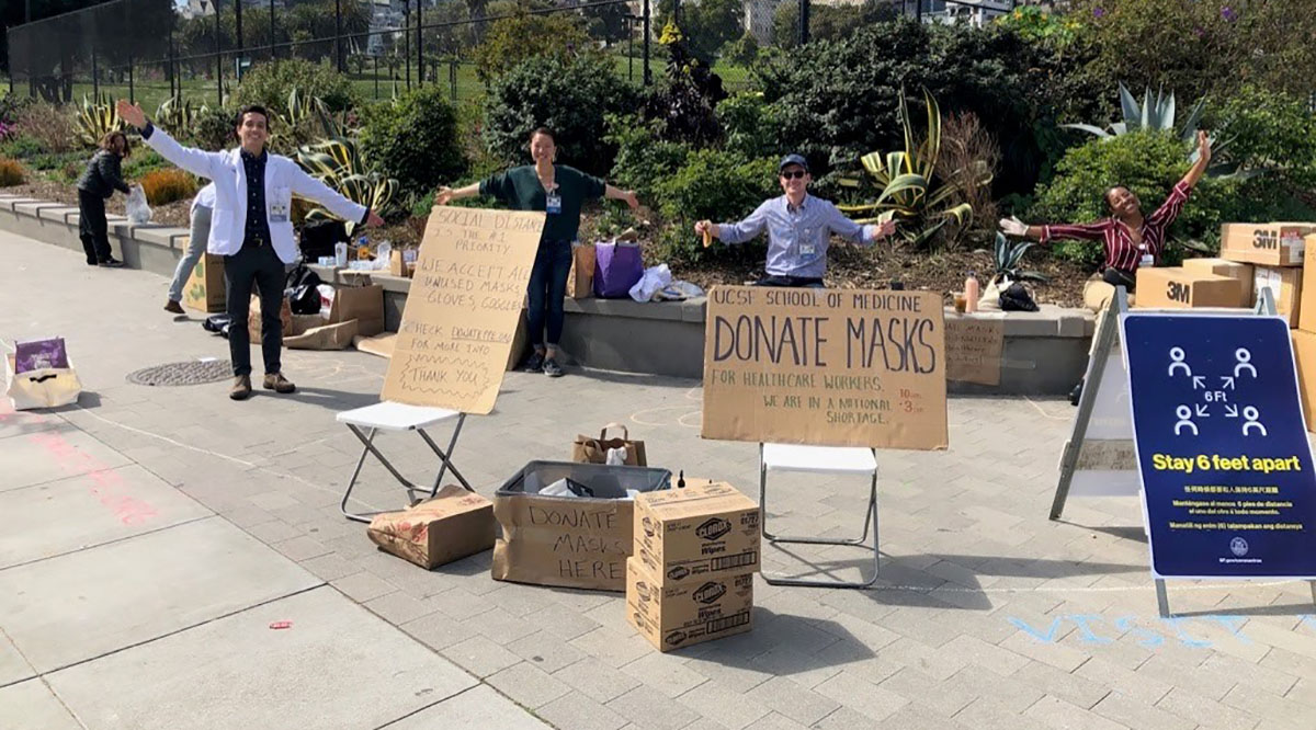 University of California, San Francisco, School of Medicine student volunteers recently collected 23,000 protective masks while making sure they stayed at least 6 feet apart from each other and donors