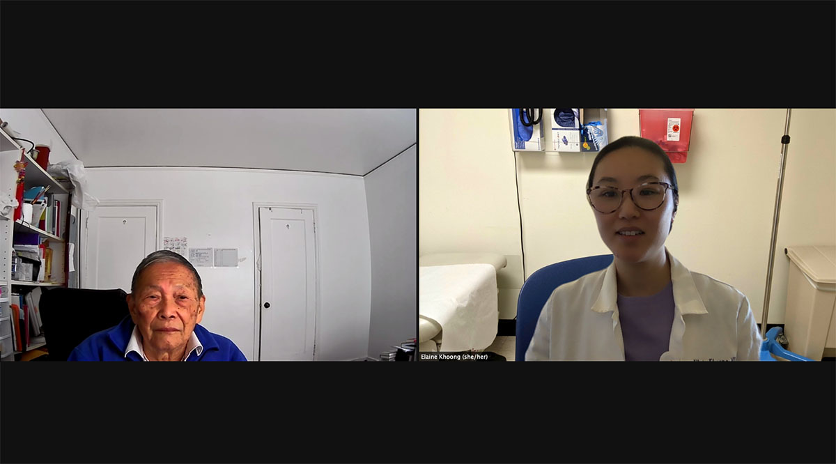 Internal medicine physician Elaine Khoong, MD, pictured meeting remotely with a San Francisco Health Network patient, worries about patients who can't easily use telemedicine.