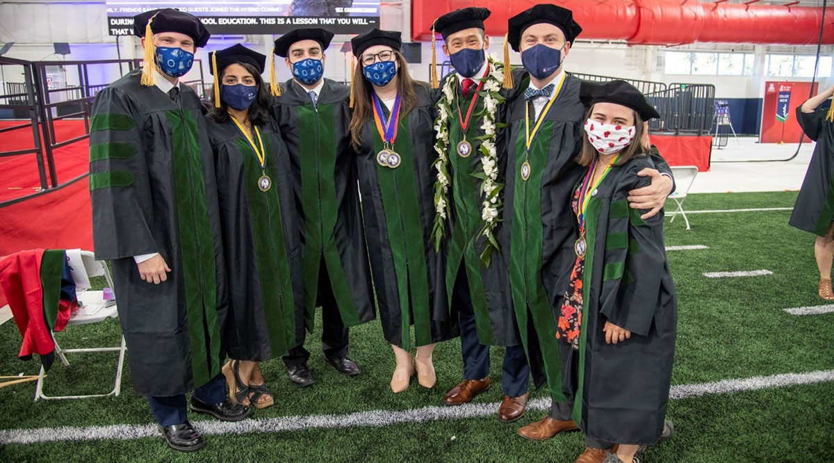 Students at the University of Arizona College of Medicine - Tucson pose after their commencement ceremony on May 14, 2021.