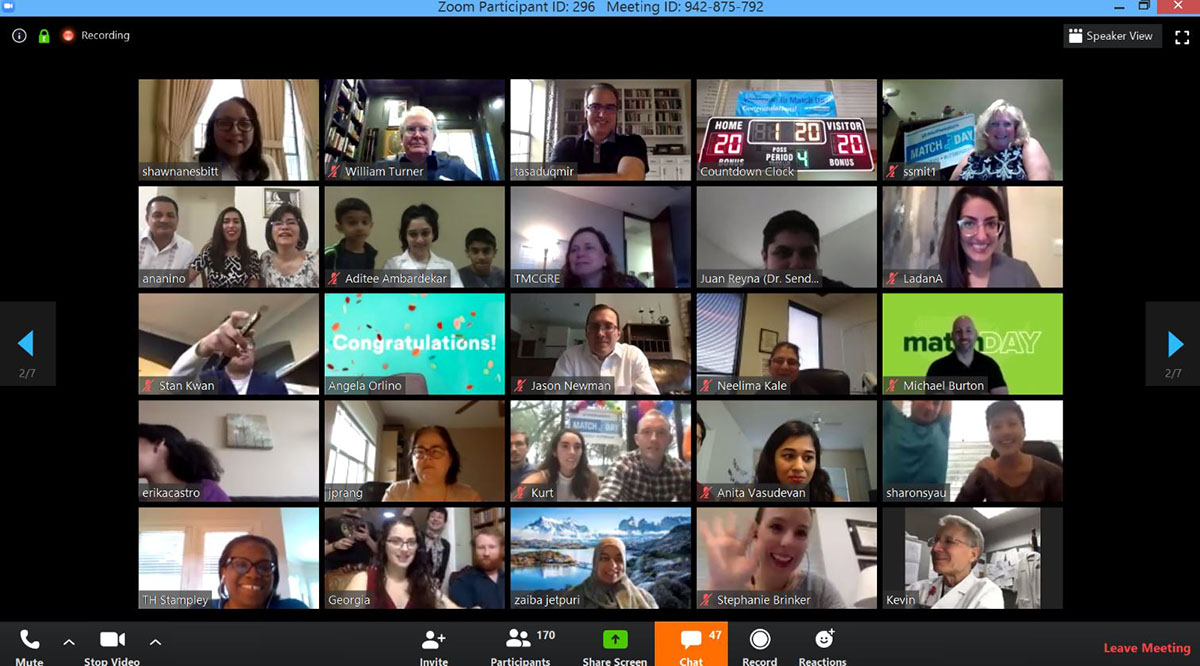 Students at the University of Texas Southwestern Medical School gathered in the online videoconferencing platform Zoom to share Match Day announcements