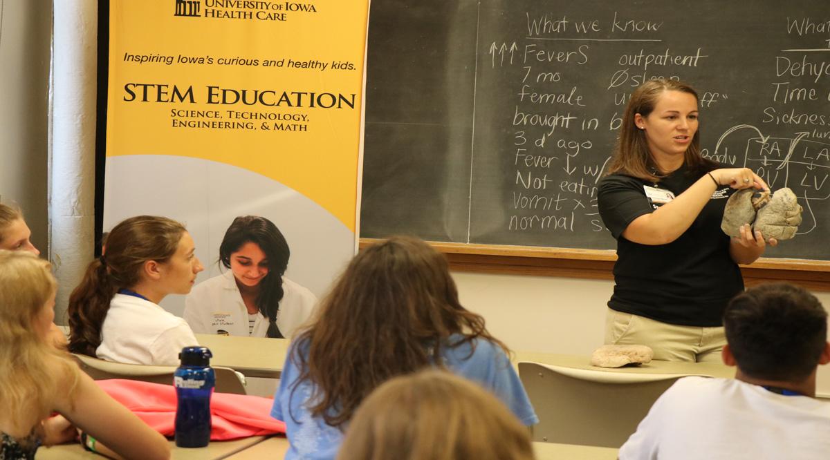 woman teaching a class