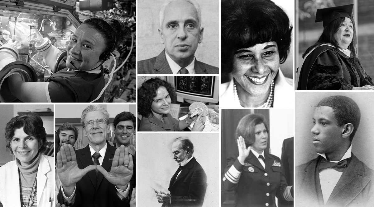 A collage of Hispanic pioneers in Medicine