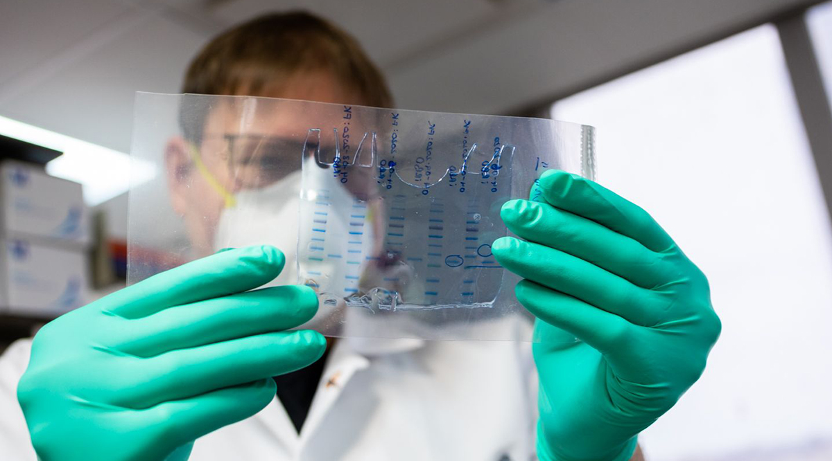 Florian Krammer examines a plastic slide while working in a laboratory.