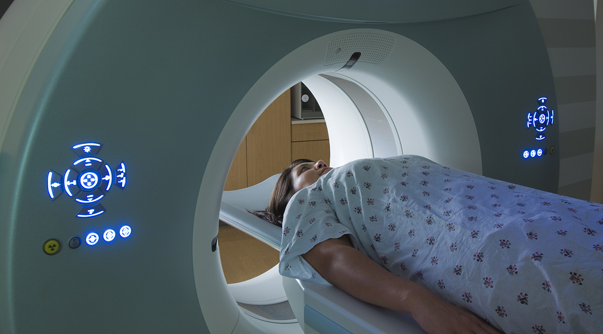 patient in a ct scanner