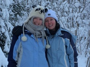 Dr. Whelan (right) snow shoeing in Wisconsin with her daughter Alyssa Hartel.