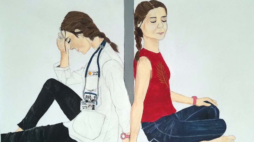 Painting of doctor and another person sitting back-to-back and holding hands