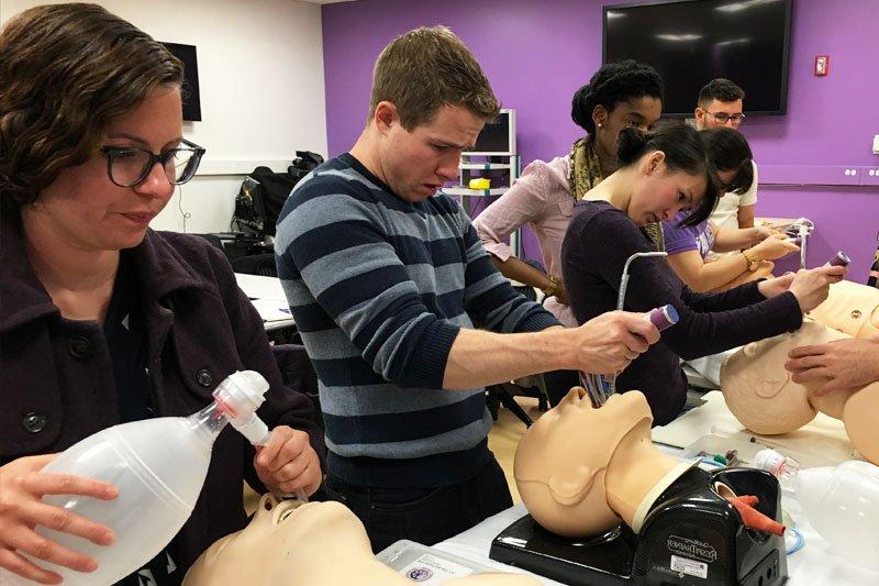 Northwestern University Feinberg School of Medicine practice their intubation skills