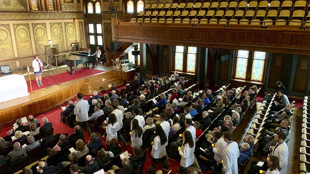 Georgetown University medical students attend a donor memorial service.
