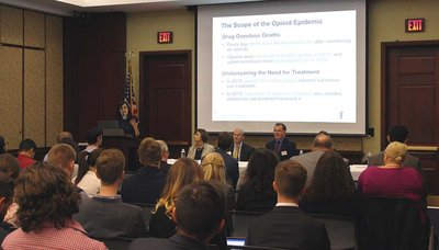 The AAMC and Congressional Academic Medicine Caucus hosted an October 17 congressional briefing on how teaching hospitals are treating patients with substance use disorders in light of the opioid epidemic.