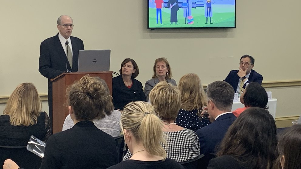 Christopher Westfall, MD, FACS, dean of the college of medicine at the University of Arkansas for Medical Sciences; Karen Fisher, JD, AAMC chief public policy officer; Janis Orlowski, MD, AAMC chief health care officer; and Len Marquez, AAMC senior director of government relations.