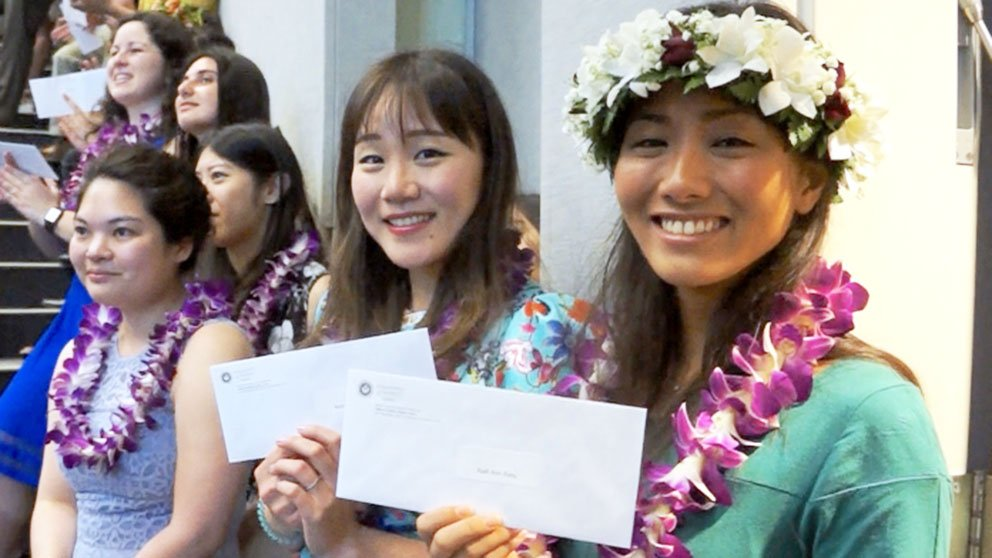 students celebrating at John A. Burns School of Medicine University of Hawaii at Manoa