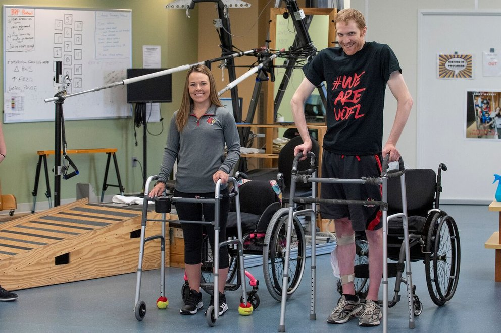Kelly Thomas and Jeff Marquis with their walkers