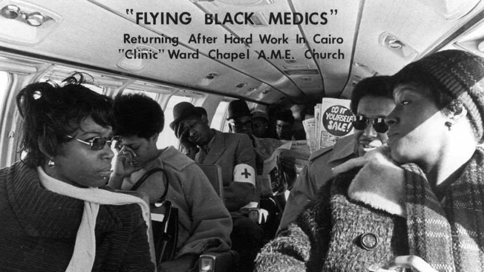 The Flying Black Medics, created by Leonidas Harris Berry, MD, return from providing medical care and education to Cairo, Illinois, residents in 1970.