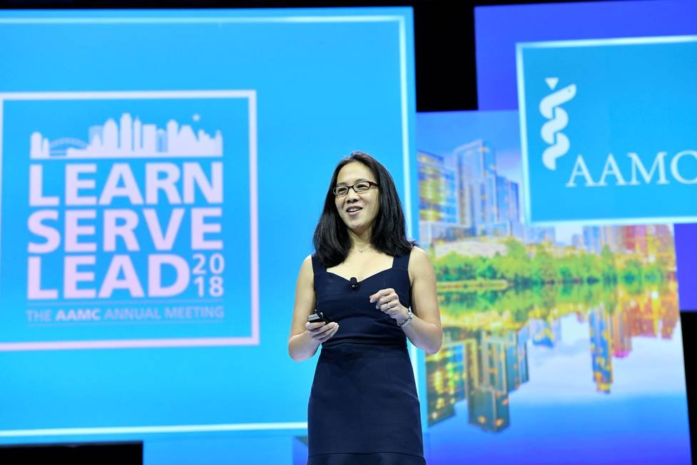 Angela Duckworth spoke to a crowd of nearly 4,500 leaders in academic medicine on Saturday, November 3, during the Opening Plenary Session of Learn Serve Lead 2018: The AAMC Annual Meeting.