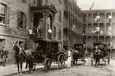 horse-drawn ambulances