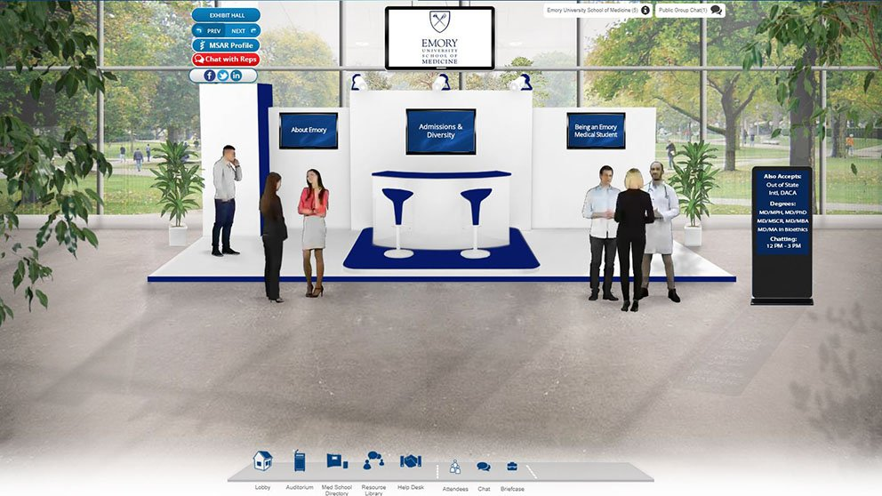 "Visitors can choose from dozens of school ""booths"" and chat online with admissions staff."
