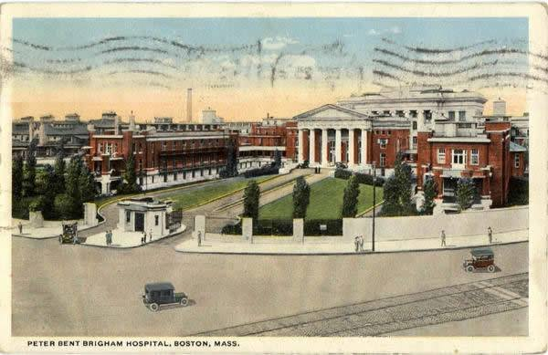 postcard of Peter Bent Brigham Hospital in 1919