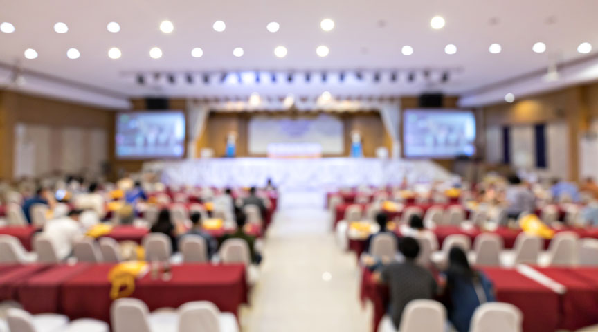 Blurred soft of audience in a seminar or meeting
