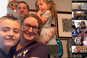 Lauren Jodi Van Scoy, MD, associate professor of medicine, humanities, and public health sciences at Penn State College of Medicine in Hershey, Pennsylvania, poses for a screenshot during her virtual Thanksgiving celebration with family over Zoom.