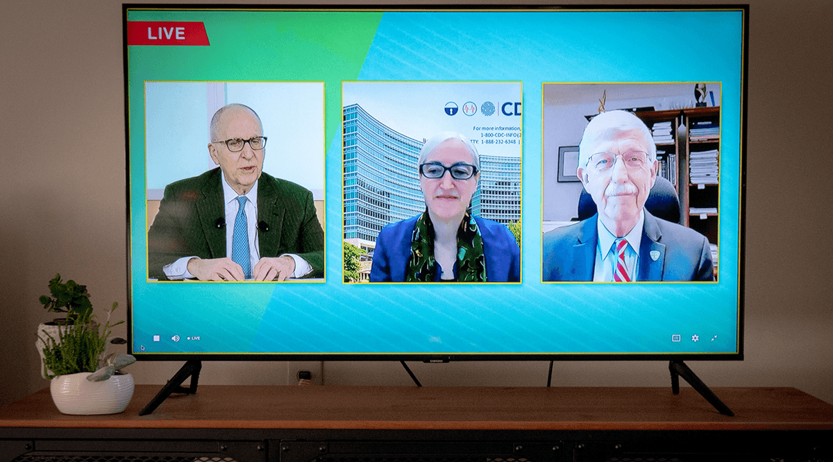 Dr. David Skorton, Dr. Anne Schuchat, and Dr. Francis Collins speak during Learn Serve Lead 2020.