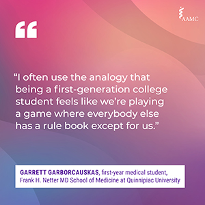 """""""I often use the analogy that being a first-generation college student feels like we're playing a game where everybody else has a rule book except for us."""" - Garrett Garborcauskas, first-year medical student, Frank H. Netter MD School of Medicine at Quinnipiac University"""