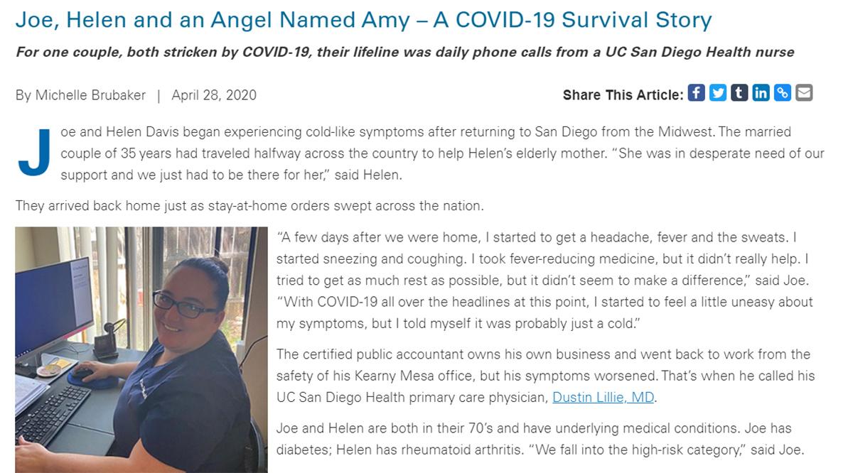 Joe, Helen and an Angel Named Amy – A COVID-19 Survival Story