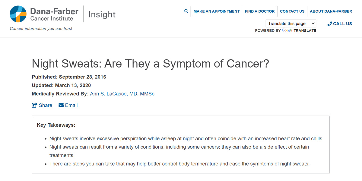 Dana-Farber Cancer Institute blog - Night Sweats: Are They a Symptom of Cancer?
