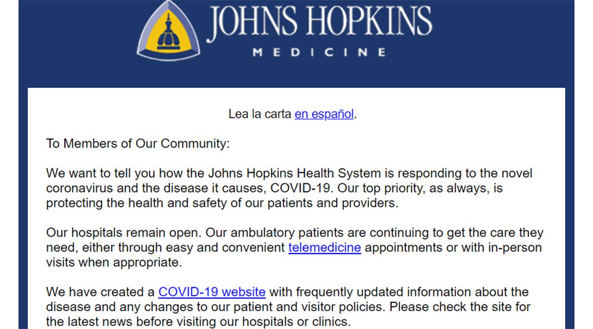 Johns Hopkins Medicine Digital Patient Communications
