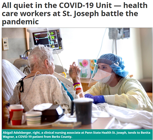All quiet in the COVID-19 Unit - health care workers at St. Joseph battle the pandemic