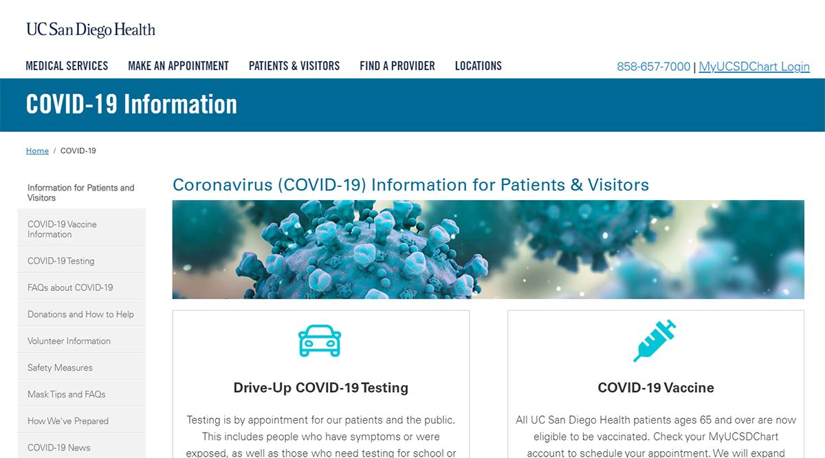 UC San Diego Health's Coronavirus Microsite