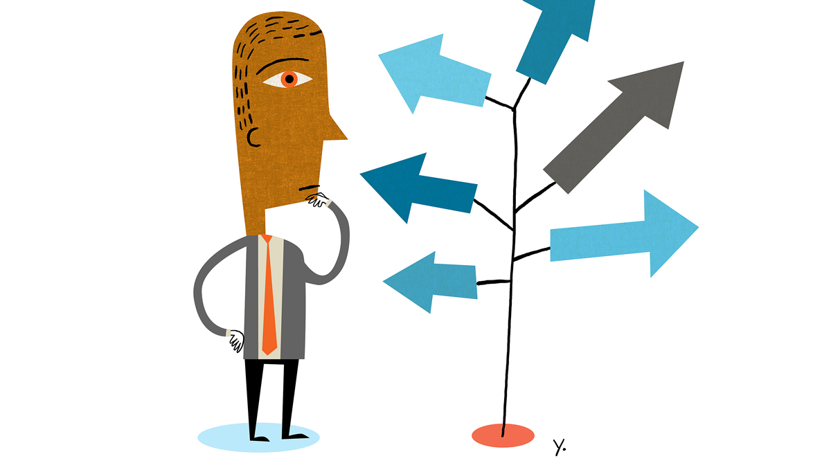Man stares at tree of arrows.