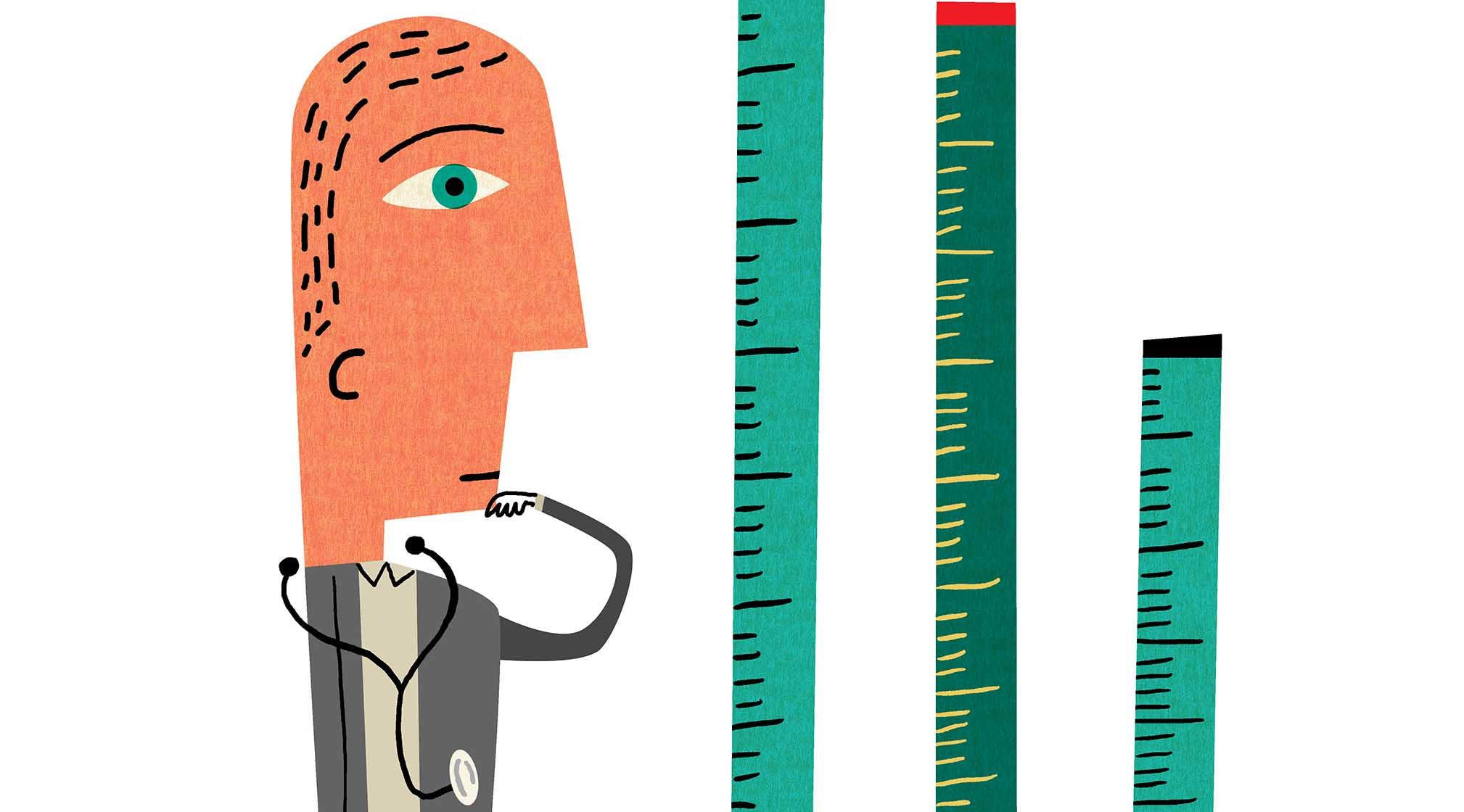 Illustration of a man looking at measuring sticks
