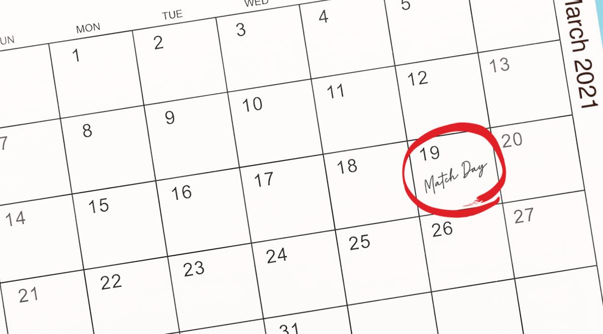 "An image of a calendar with March 19 circled in red with ""Match Day"" written inside"