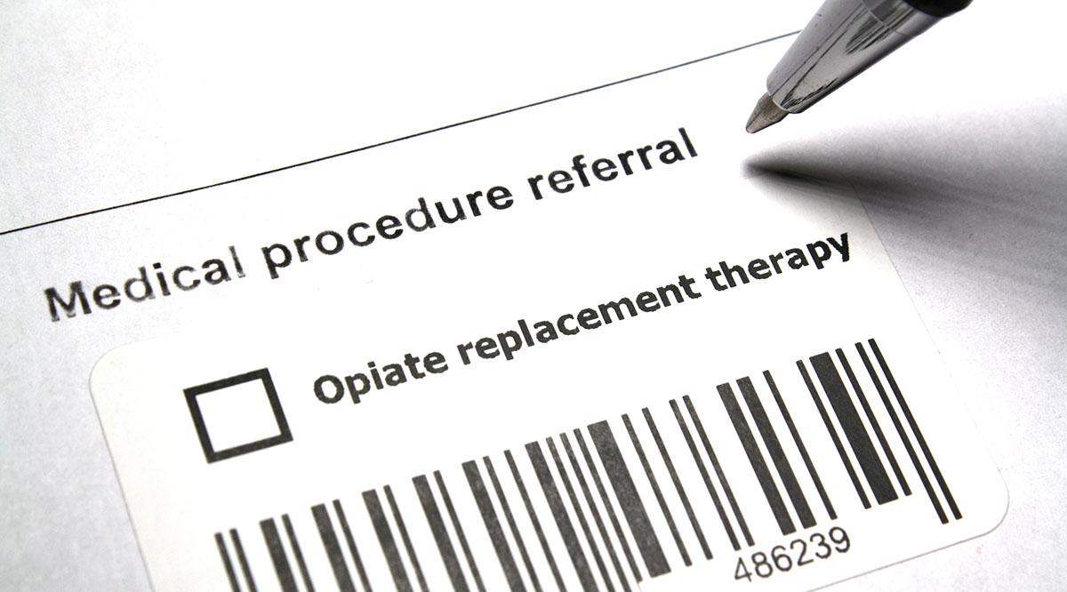 "A form with an ""Opiate replacement therapy"" checkbox"